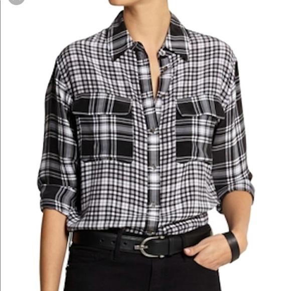 Equipment Tops - Equipment | Silk Mixed Plaid Button Up Shirt